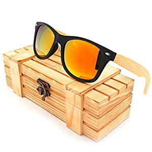 JapanX Bamboo Sunglasses & Wood Wooden Sunglasses for Men Women, Polarized Lenses Gift Box – Wooden Vintage Wayfarer Sunglasses - Bamboo Wood Wooden Frame – New Style Sunglasses (A3 RED)
