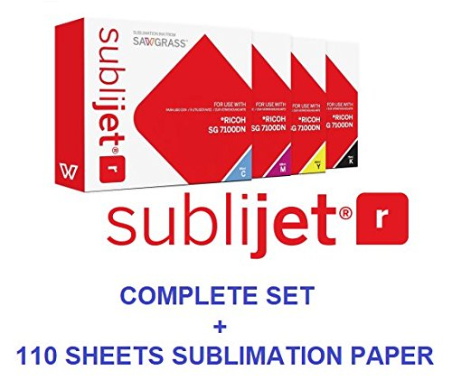 Sawgrass SUBLIJET-R sublimation ink cartridges for Ricoh SG 3110DN & 7100DN printers - COMPLETE SET (CMYK). WITH 110 SHEETS OF OUR SUBLIMATION PAPER ''MADE IN JAPAN'' (Eventprinters brand) by Sawgrass and Eventprinters