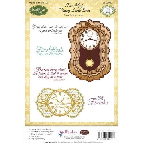 Justrite 6-PiecePapercraft Cling Stamp Set, 5.5 by 8.5-Inch, Time Heals by Justrite