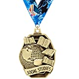 Crown Awards Academic Medals - 2'' Gold Social Studies Medals 50 Pack