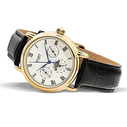 Stauer Men's Magnificat II Automatic Watch Gold Fused Case with Leather Band