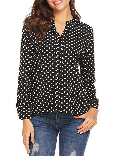 Gumod Women's Chiffon Tops Split V Neck Long Sleeves Casual Polka Dots Pleated T-Shirt Blouse