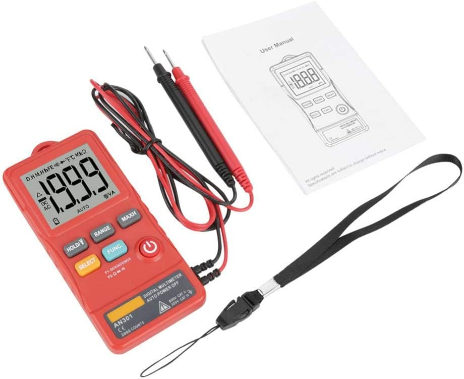 red 1999 counts AC//DC Digital Multimeter High Presision Diode for Continuity Checking with Electricians Test Pens