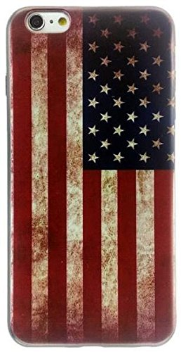 Apple iPhone 6 Plus and 6s Plus 5.5 inches Old Vintage American Flag Thin Flexible Soft Silicone Case Shock Absorb Impact Protection Cover Quick Easy Install Snap On Off Perfect Fit Slim Lightweight