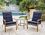 Wood Patio Furniture Solaura 3-Piece Outdoor Furniture Grey Wicker Bistro Set W/Wood-Grain Arm Rest with Nautical Navy Blue Cushions & Glass Coffee Table