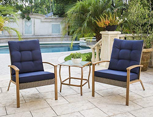 Solaura 3-Piece Outdoor Furniture Grey Wicker Bistro Set W/Wood-Grain Arm Rest with Nautical Navy Blue Cushions & Glass Coffee Table