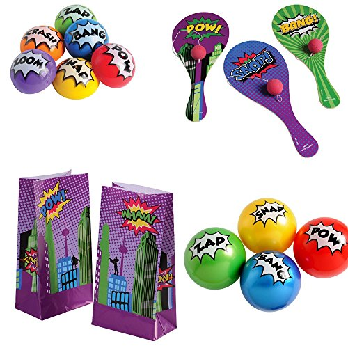 Kid Fun Superhero Toy Party Favor Supplies Set for 12 Bundle 48 Pieces Paddle Balls Treat Bags -