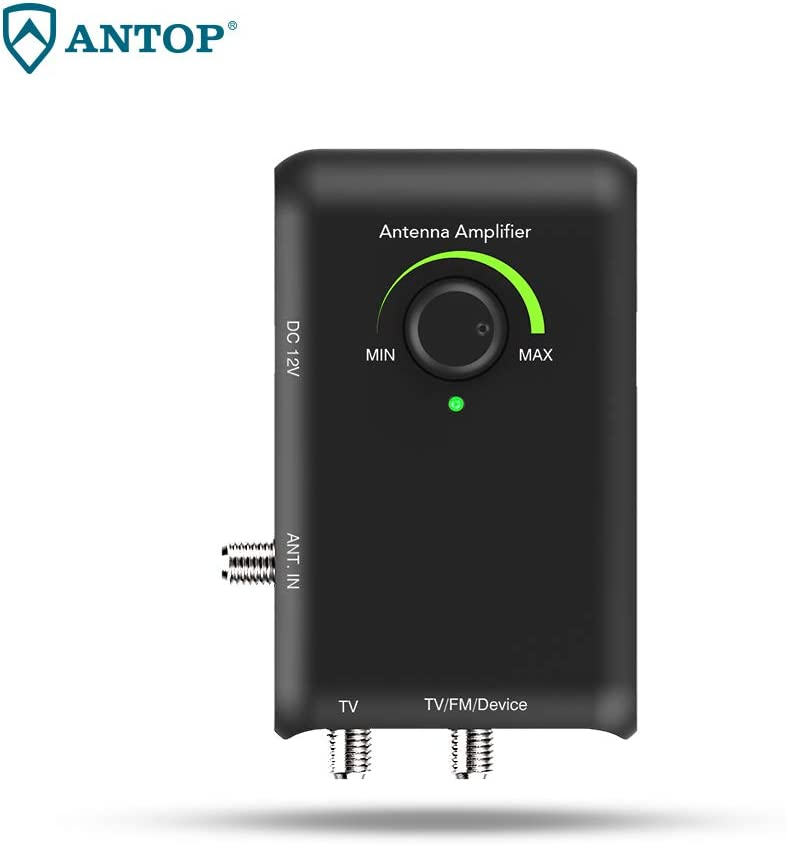 ANTOP Antenna Amplifier,Low Noise Antenna Signal Booster Amplifier with Dual Outputs for TV and Second Device- FM Stereo, a Second TV, or Any OTA-Ready Streaming Device or Projector