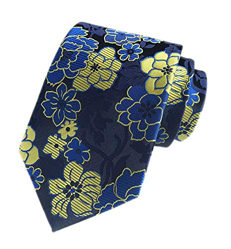 - Men's Royal Blue Yellow Big Flowers Tie Business Formal Gifts Necktie for Grooms