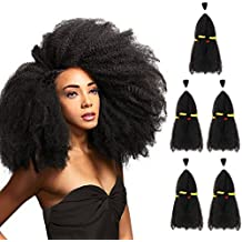 "SLEEK 5 Bundles Afro Kinkys Curly Hair Extensions (13"" x 5, Natural Black) - Afro Twist Braiding Hair - Afro Kinkys Bulk Hair Braiding - Synthetic Hair Extensions for Braiding"