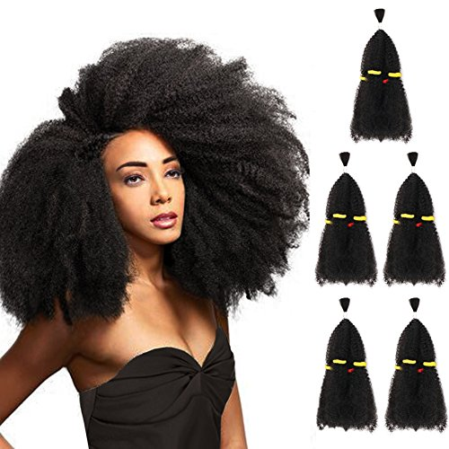 5 Bundles Afro Kinkys Curly Hair Extensions (13 x 5, Natural Black) - Afro Twist Braiding Hair - Afro Kinkys Bulk Hair Braiding - Synthetic Hair Extensions for Braiding