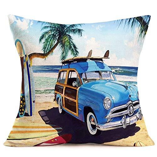 ShareJ Blue Truck Cotton Linen Throw Pillow Covers Summer Beach Surfboard Cushion Case Home Chair Office Outdoor Decorative Square 18 X 18 Inches (Pillows Surfboard)