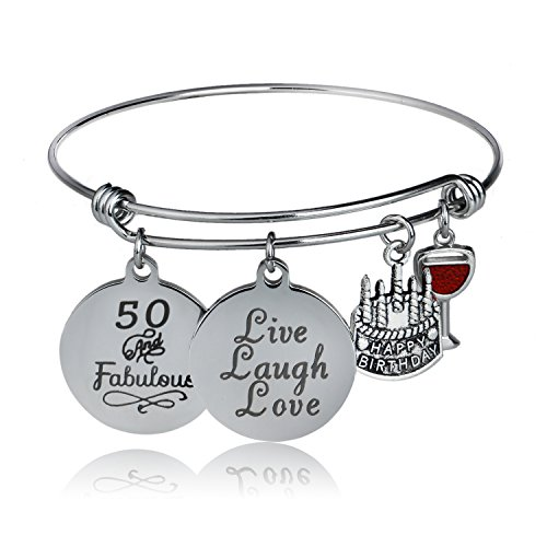 Personalized 21st Birthday T-shirt - YeeQin Happy Birthday Bangles, Cake Cheer Live Laugh Love Charms Bangle Bracelets, Gifts for Her (50th Birthday)