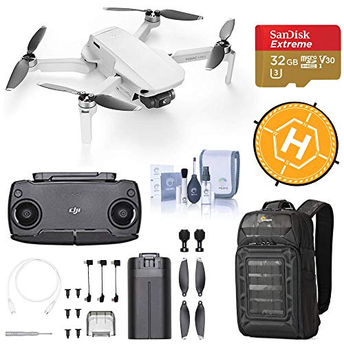 DJI Mavic Mini Drone FlyCam Quadcopter with 2.7K Camera 3-Axis Gimbal GPS, 30-Minutes Flight Time, Deluxe Bundle with Backpack, 32GB microSD Card, Landing Pad, Cleaning Kit