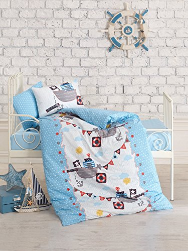 LaModaHome Sailor Baby Bedding Set, 100% Cotton - Pirate Ships Floating - Set of 5 - Comforter, Duvet Cover, Flat Sheet and 2 Pillowcases for Baby, Toddler