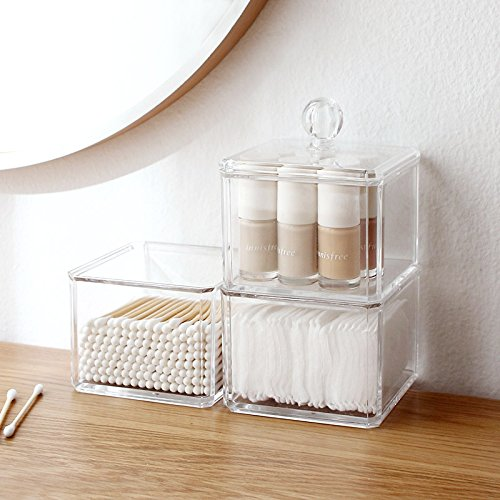 Sooyee 3 Tier Stackable Acrylic Cotton Ball & Swab Holder, Dustproof Makeup Storage Organizer with Lid, Cosmetic Caddy Box for Q-Tips, Lipstick,Make Up Pads, Jewelry,Clear Plastic Drawer (Clear Acrylic Lid Organizer)