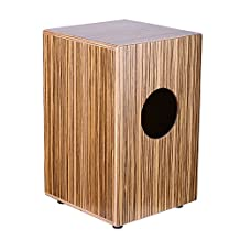 "Neewer® Percussion 9"" x 9"" x 14""/23 x 23 x 36cm Zebrawood Cajon with Internal Snares, Burlywood Finish"