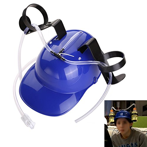 [Chinatera Cool Unique Party Bar Game Beer Soda Hat with Straw Drinking Cap Guzzler Helmet Can Holder] (Drinking Hats With Straws)