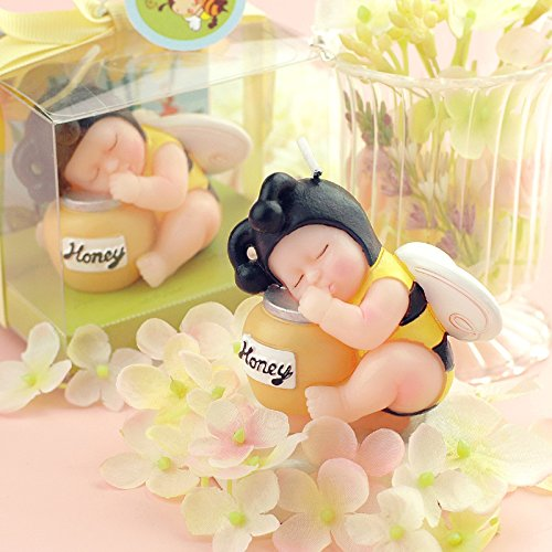 Adorable Mini Bee Baby Honey Jar Birthday Candle Cake Topper Attached with Gift Card Baby Shower Favors (In Gift Box) Sweet Homes & Gardens