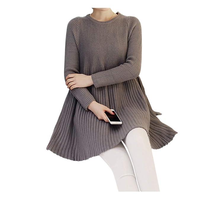 Hzjundasi Maternidad Faldas - Mujer Embarazada Mini Vestir Largo Manga Suéter Casual Ropa