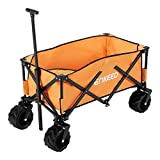 ENKEEO Folding Wagon Collapsible Sports Outdoor Cart Utility Garden Cart with Large Capacity and Tilting Handle for Camping Beach Sporting Events Concerts, Orange