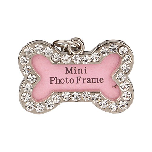 JD Million shop S Size Dog Name Tags And Collars Stainless Steel Cat ID Tags Personalized Bone Shaped Dog Tag Pink Dogs Pet Supplies