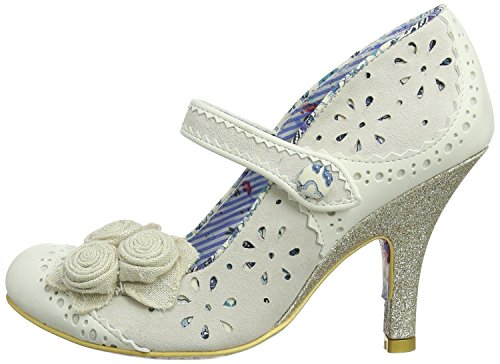 Irregular Choice Echo Crema Azul Mujeres Mary Jane Heels Zapatos