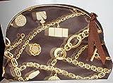 Estee Lauder Brown Chain Design Fabric Cosmetic Makeup Bag ~ 9.5