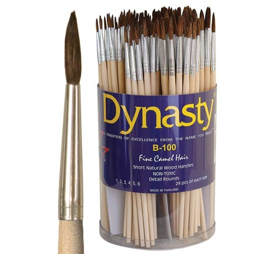 Dynasty Brush (Dynasty B-100 Fine Camel Hair Round Brush Canister canister of 144)