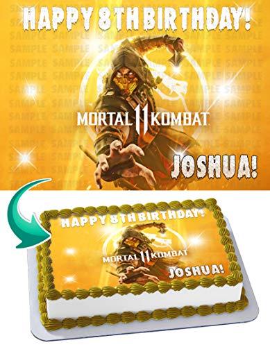 Mortal Kombat 11 Edible Cake Image Topper Personalized Birthday 1/4 Sheet Custom Sheet Party Birthday Sugar Frosting Transfer Fondant Image ~ Best Quality Edible Image for Cake
