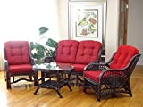 Malibu Rattan Wicker Living Room Set 4 Pieces 2 Lounge Chair Loveseat/sofa Coffee Table Dark Brown Red Cushions Review