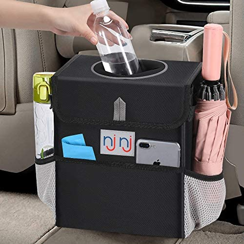 njnj Waterproof Car Trash Can Garbage Bin,Super Large Size Removable Liner Auto Trash Bag for Cars with Lid and Storage Pockets,Leak Proof Vehicle Car Organizer Hanging (Gray)
