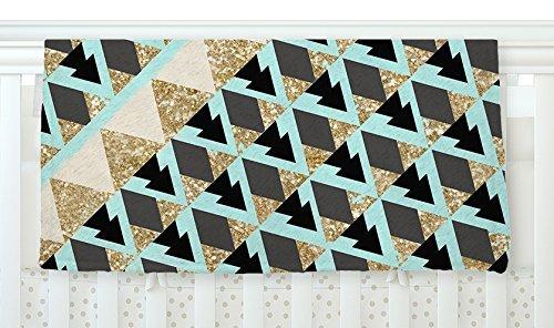 KESS InHouse Nika Martinez Glitter Triangles in Gold & Teal Blue Brown Fleece Baby Blanket 40 x 30 [並行輸入品]   B077ZTR24Y