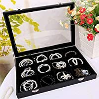 Bracelet & Jewelry Organizer Tray- 12 Grid with See through Lid- Black Velvet -For Organzing & Decluttering Bracelets, Bangles & Watches, Rings & Earrings-Jewelry Organizer for Women Teens & Girls