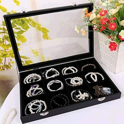 Hivory Bracelet & Jewelry Accesories Organizer Tray with Transparent Lid ~ Ample Space ~ See Through Top Display Case Accessories Storage Jewelry Box (Black 12 Grid)