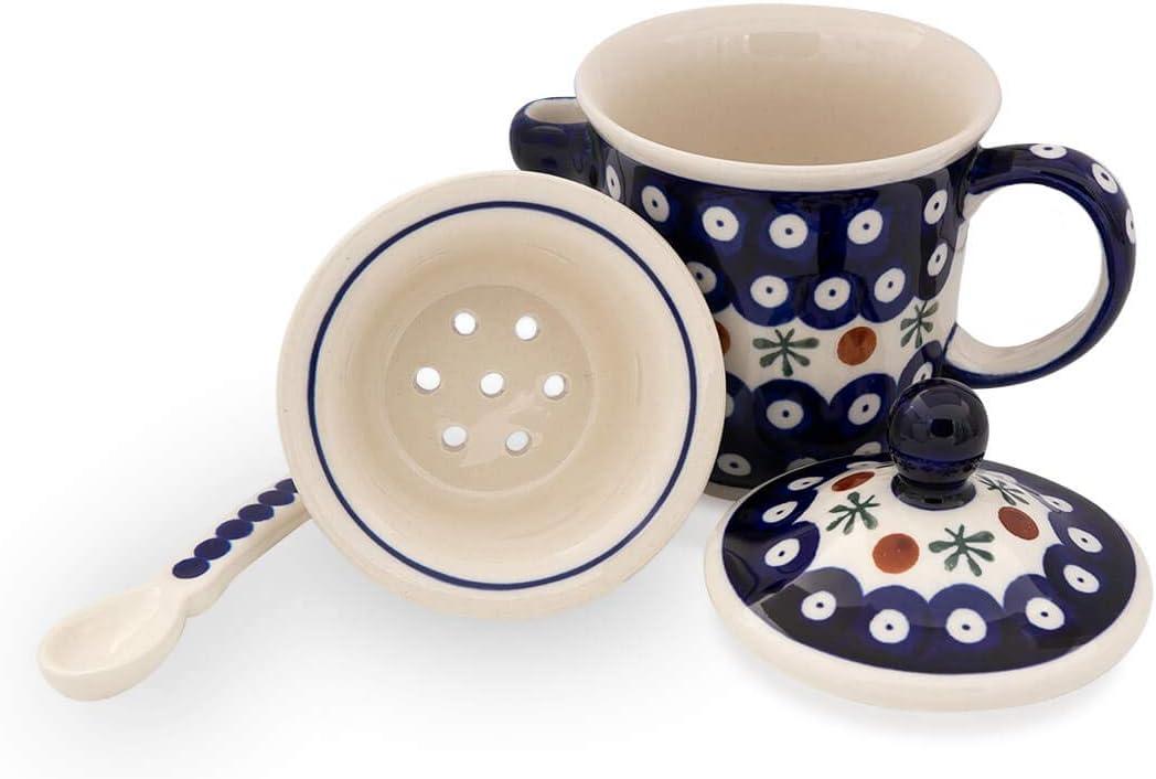 Deckel und L/öffel im Dekor 41 Original Bunzlauer Keramik Teetasse mit Teesieb