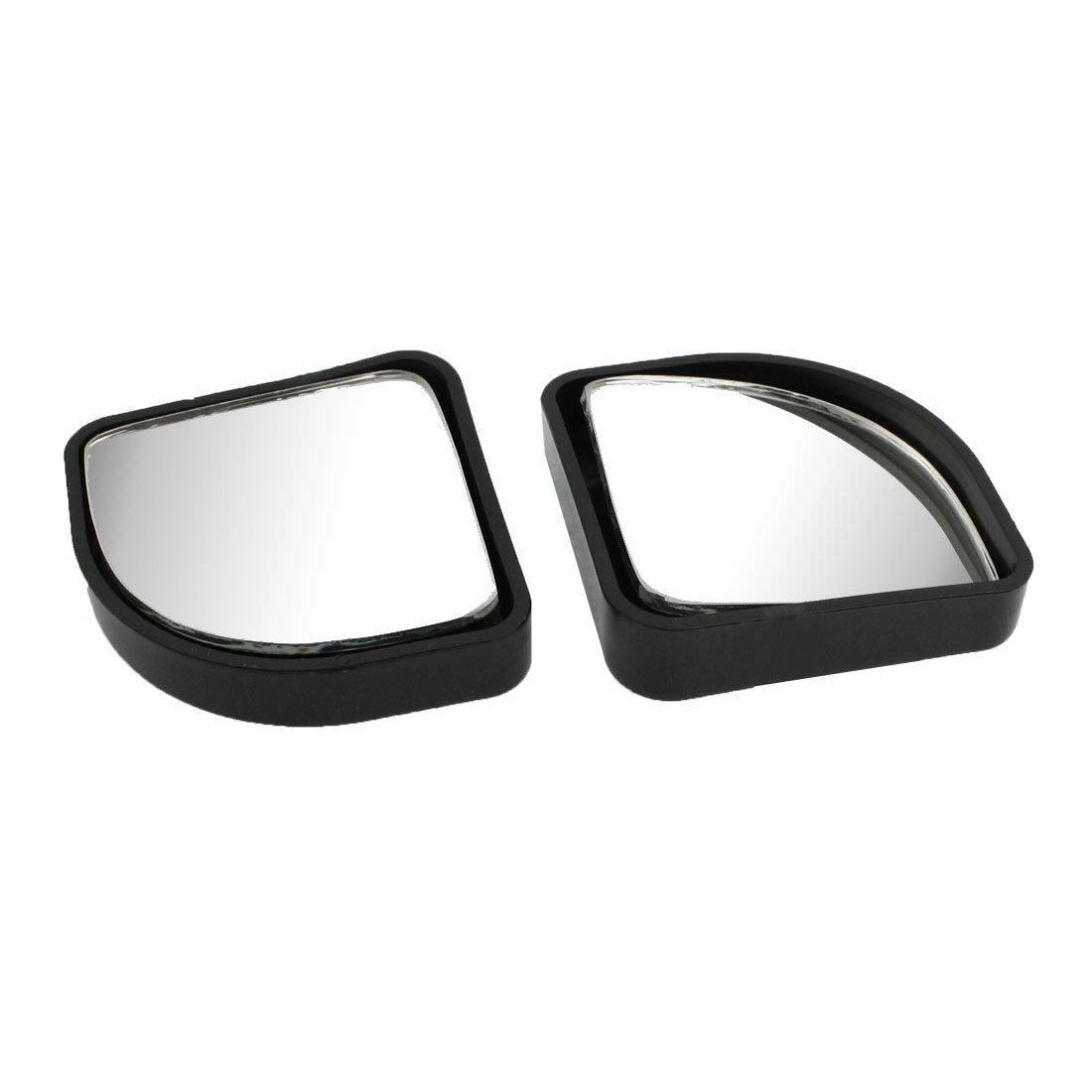 R TOOGOO 2pzs Espejo de punto ciego auxiliar retrovisor de lado ajustable Negro para el coche
