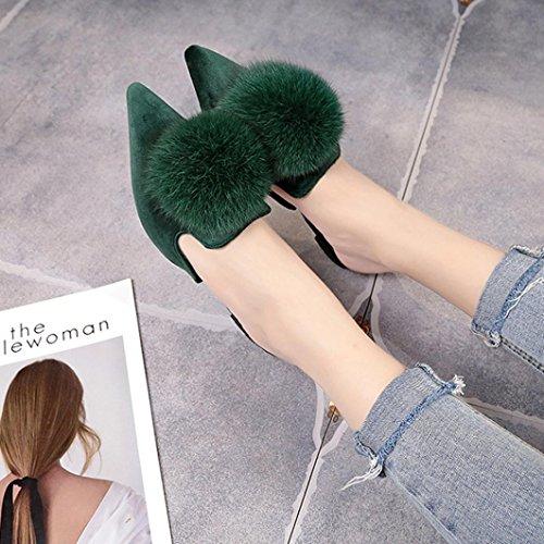 Sandali Della Boemia Di Digood Per Le Donne, Scarpe Casual Delle Ragazze Delle Ragazze Eleganti Delle Pantofole Chiuse Verdi Del Piede-verde