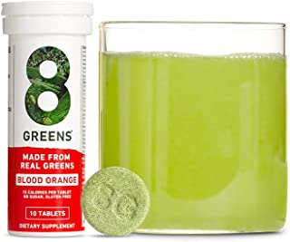 product image for 8Greens Immunity and Energy Effervescent Tablets - Packed with 8 Powerful Super Greens (Blood Orange, 1 Tube / 10 Tablets)