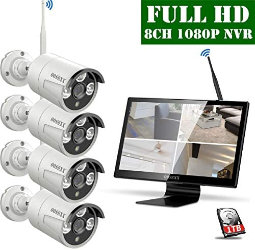 Outdoor Wireless Home Security Camera System With 16 inch Monitor Screen,Wireless CCTV Video Surveillance Security Camera System With 1TB Hard Drive,4pcs 1080P Wireless Weatherproof Cameras with Audio