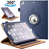 Azzsy iPad 9.7 Case 2018/2017 iPad Case- 360 Degree Rotating Stand Smart Protective Cover With Auto Wake/Sleep For Apple iPad 9.7 inch 6th/5th Generation,Blue