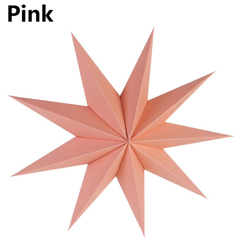 856store Funny Nine Angles Paper Hanging Star Lampshade Home Bar Ornament Christmas Party Decor - Pink