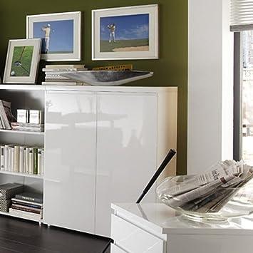 Büroschrank weiß  Design Büroschrank Aktenschrank TARANTO, weiß Hochglanz, 2-türig ...