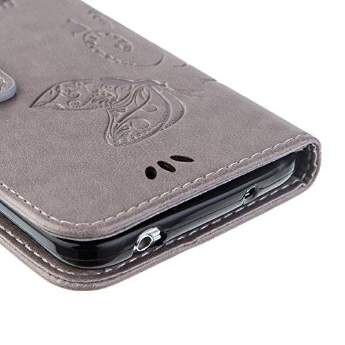SRY-Funda móvil Samsung Funda Samsung Galaxy S5, estuche retro de folio de la caja del folio del color sólido con correa de la mano Bolsa protectora de Shell para Samsung Galaxy S5 ( Color : Black , S Gray