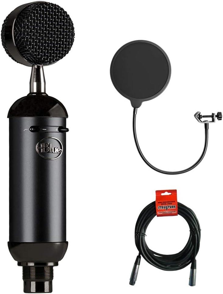 Blue Blackout Spark SL XLR Condenser Microphone with Pop Filter /& 20 XLR Cable