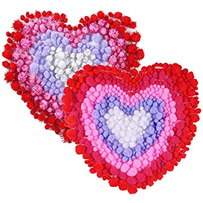 Caydo 900 Pieces 5 Colors Valentines Pom Poms for Valentines Day DIY, Creative Crafts Decorations (Red, Pink, Rose red, White, Purple): Arts, Crafts & Sewing