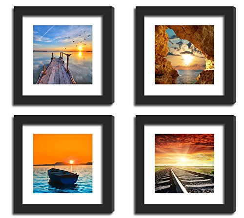 4Pcs x Real Glass Wood Frame Black Fit 11x11
