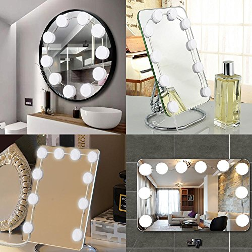 Makeup Dressing Table Hollywood Style 8 Dimmable LED Bulbs Makeup Mirror Lights GREEMPIRE Vanity Mirror Lights UL Listed Adapter 6000K Lighting Fixture Strip for Bedroom