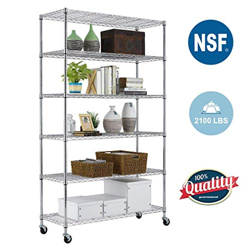 6 Tier Wire Shelving Unit with wheels Metal Shelf organizer Heavy Duty Storage Unit Wire Rack NSF Certification Commercial Grade Utility for Bathroom Office 2100LBS Capacity-18x48x82 Chrome (Metal Shelf Wheels)