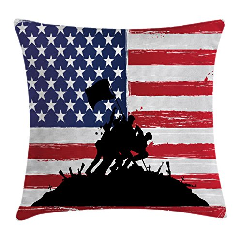 American Throw Pillow Cushion Cover by Ambesonne, Bless America Silhouettes of American Soldiers USA Flag Background Valor Theme, Decorative Square Accent Pillow Case, 16 X 16 Inches, Black - American Flag Square